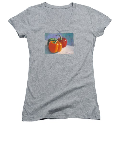 Pick A Pepper Women's V-Neck T-Shirt (Junior Cut) by Laurie Morgan