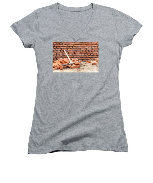 Pickaxe On A Construction Site Women's V-Neck (Athletic Fit)