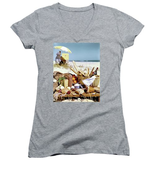 Picnic Display On The Beach Women's V-Neck