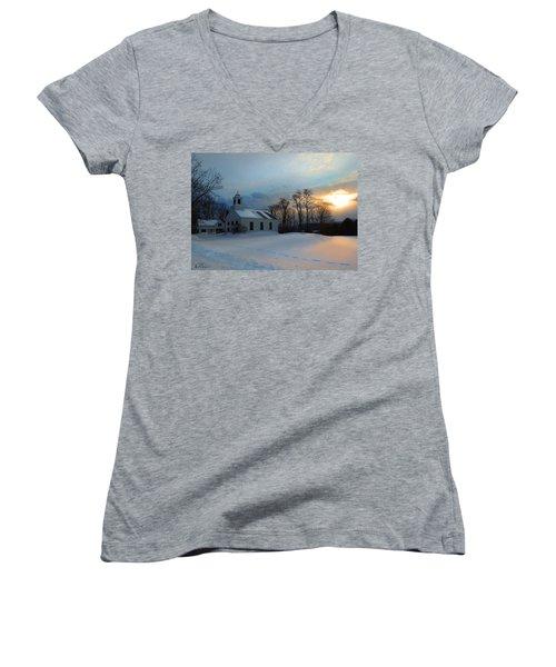 Piermont Church In Winter Light Women's V-Neck T-Shirt (Junior Cut) by Nancy Griswold