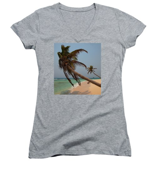 Pigeon Cays Palm Trees Women's V-Neck (Athletic Fit)