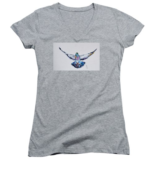 Pigeon In Flight Women's V-Neck (Athletic Fit)
