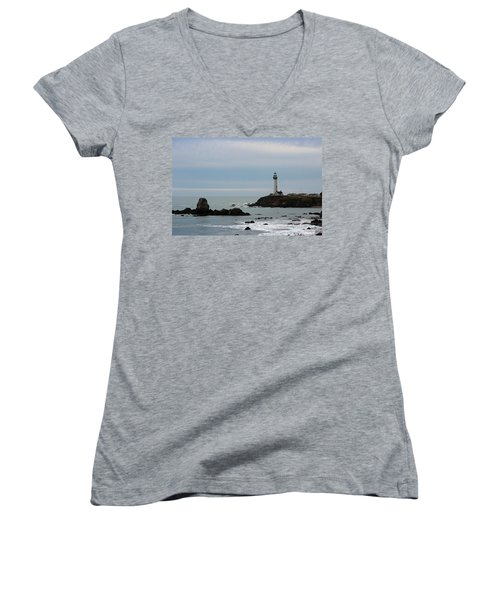 Pigeon Point Lighthouse Women's V-Neck (Athletic Fit)