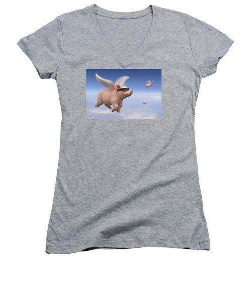 Pigs Fly Women's V-Neck