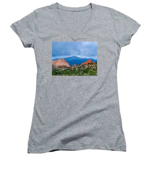 Pikes Peak Women's V-Neck T-Shirt (Junior Cut) by Dan Miller