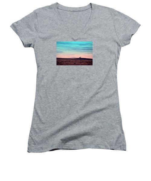 Pikes Peak To Prairie Women's V-Neck T-Shirt (Junior Cut) by Clarice  Lakota