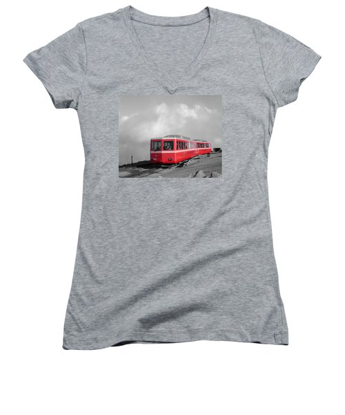 Pikes Peak Train Women's V-Neck (Athletic Fit)