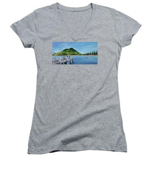 Pilot Bay 280307 Women's V-Neck T-Shirt (Junior Cut) by Sylvia Kula