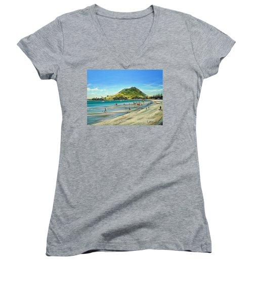 Pilot Bay Mt M 050110 Women's V-Neck T-Shirt (Junior Cut) by Sylvia Kula