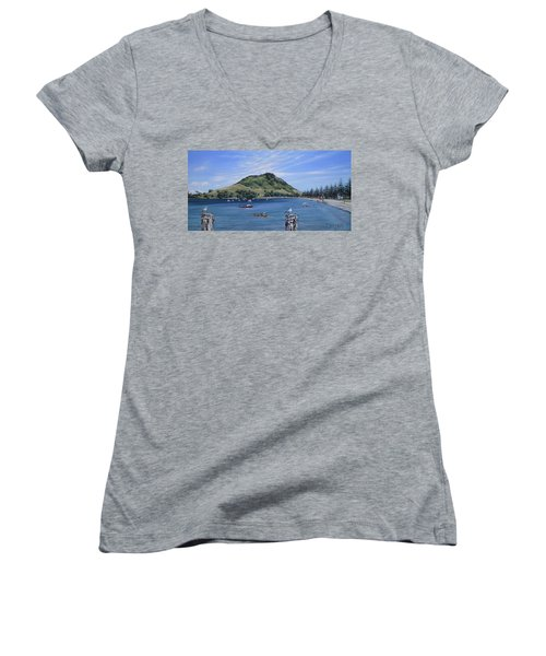 Pilot Bay Mt M 291209 Women's V-Neck T-Shirt (Junior Cut) by Sylvia Kula