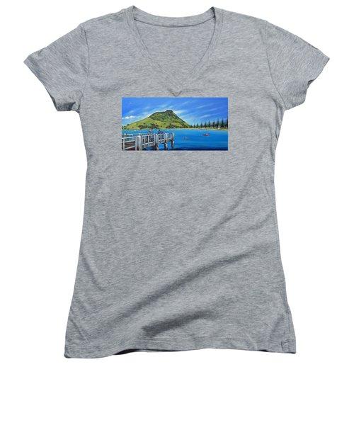 Pilot Bay Mt Maunganui 201214 Women's V-Neck T-Shirt (Junior Cut) by Selena Boron