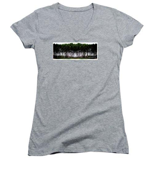 Pine Forest Women's V-Neck T-Shirt (Junior Cut) by Marcia Lee Jones