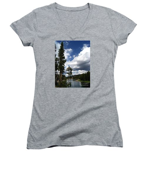 Pine On The Yellowstone River Women's V-Neck