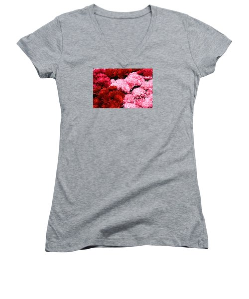 Pink And Red Women's V-Neck T-Shirt (Junior Cut) by Menachem Ganon