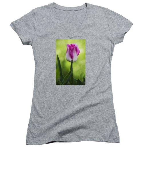 Pink And White Tulip Women's V-Neck T-Shirt (Junior Cut) by Shelly Gunderson