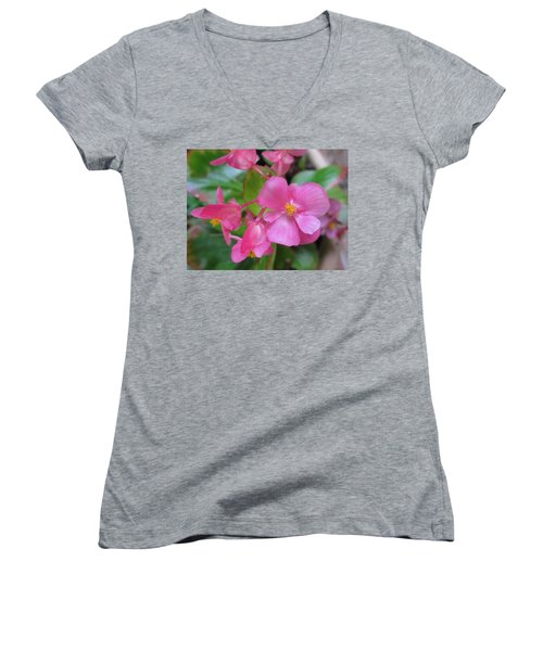 Pink Begonias Women's V-Neck T-Shirt (Junior Cut) by Barbara Yearty