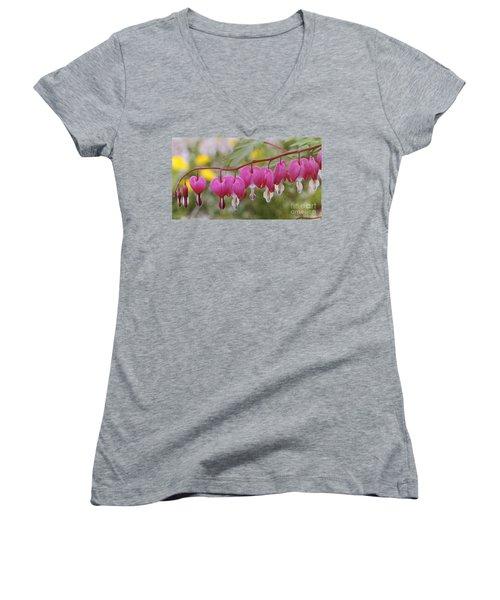 Pink Bleeding Hearts Women's V-Neck T-Shirt