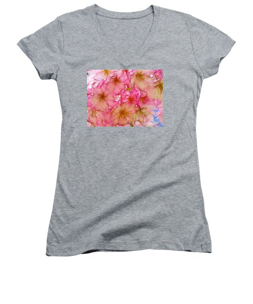 Women's V-Neck T-Shirt (Junior Cut) featuring the digital art Pink Blossom by Lilia D