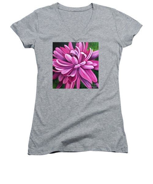 Pink Flower Fluff Women's V-Neck T-Shirt