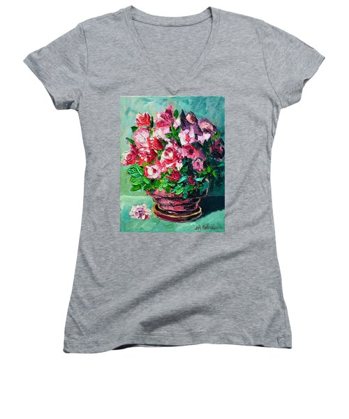 Women's V-Neck T-Shirt (Junior Cut) featuring the painting Pink Flowers by Ana Maria Edulescu