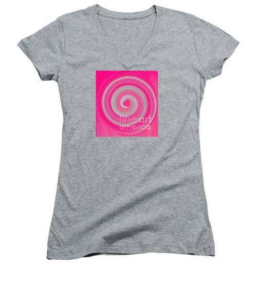 Pink Fluff Women's V-Neck T-Shirt (Junior Cut) by Catherine Lott