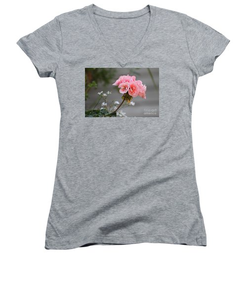 Pink Geranium Women's V-Neck T-Shirt