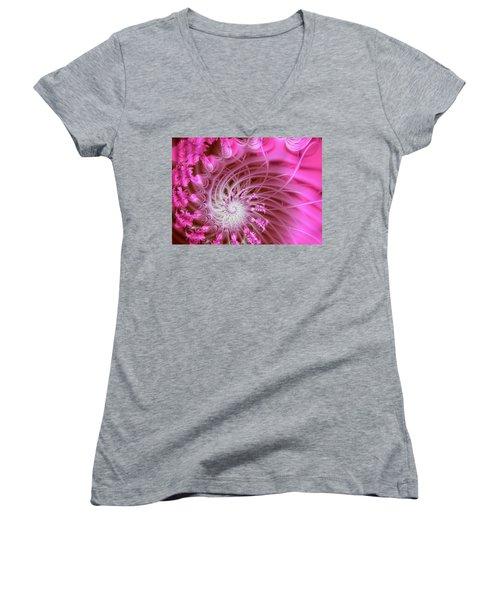Pink Women's V-Neck T-Shirt (Junior Cut) by Lena Auxier