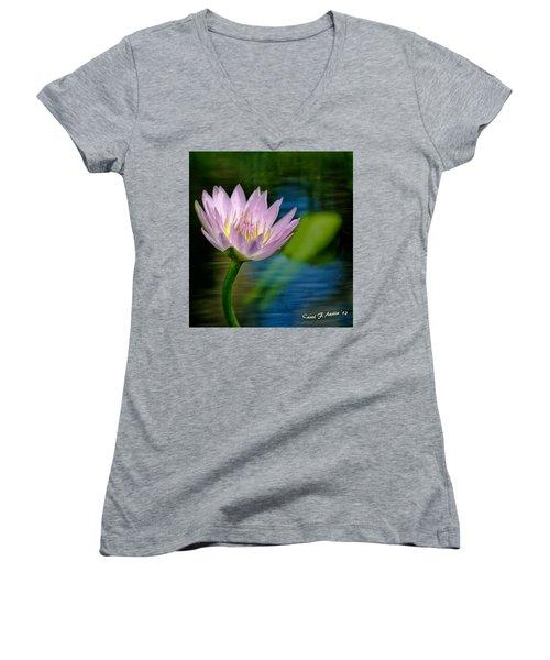 Purple Petals Lotus Flower Impressionism Women's V-Neck T-Shirt (Junior Cut) by Carol F Austin