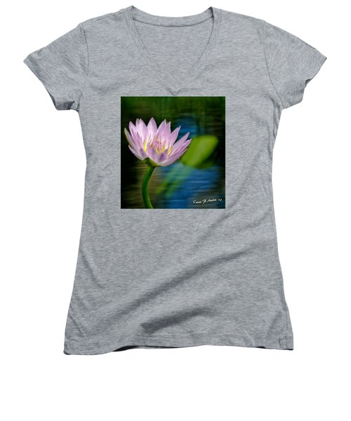 Purple Petals Lotus Flower Impressionism Women's V-Neck T-Shirt