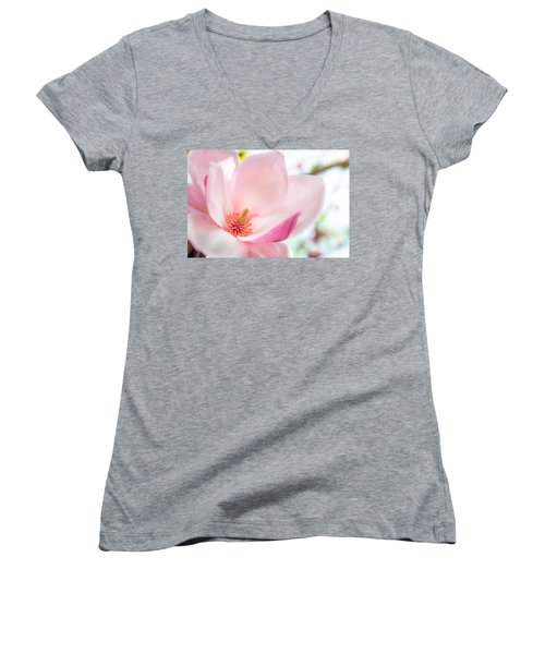 Pink Magnolia Women's V-Neck T-Shirt