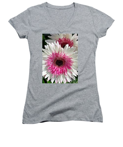 Pink N White Gerber Daisy Women's V-Neck T-Shirt (Junior Cut) by Sami Martin