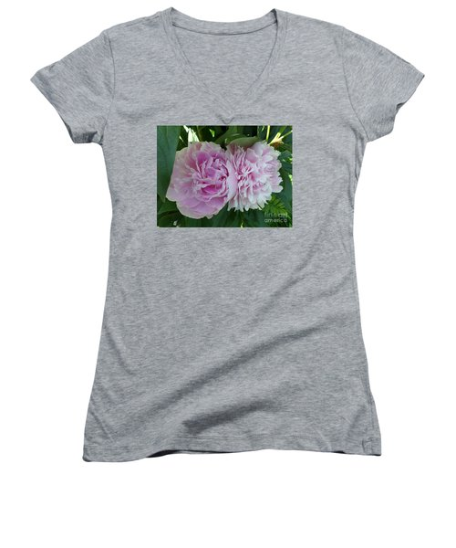 Pink Peonies 2 Women's V-Neck T-Shirt (Junior Cut) by HEVi FineArt