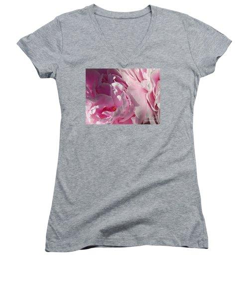 Pink Peonies Women's V-Neck