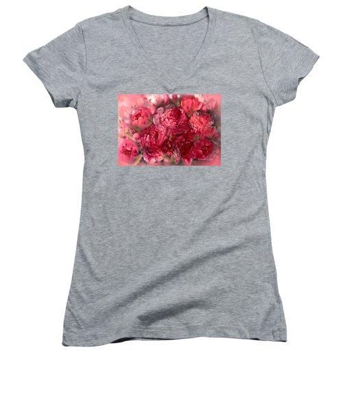 Pink Peonies Women's V-Neck T-Shirt