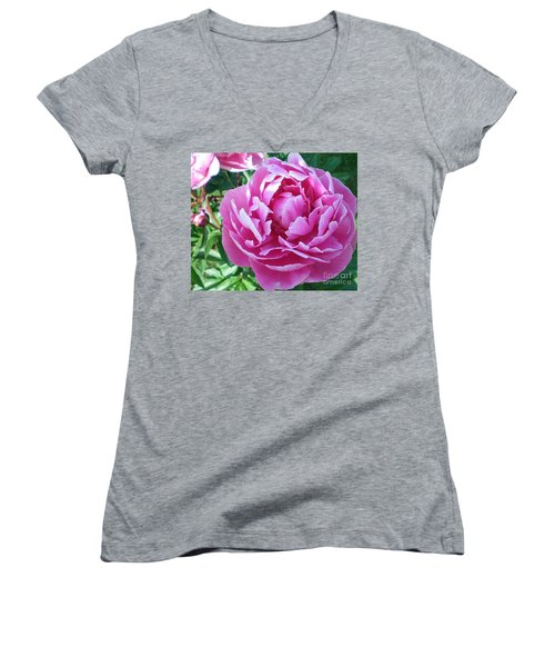 Pink Peony Women's V-Neck T-Shirt (Junior Cut) by Barbara Griffin