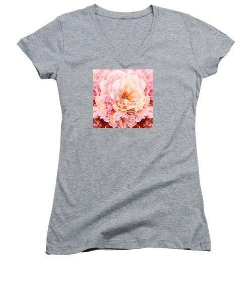 Pink Peony Women's V-Neck T-Shirt (Junior Cut) by Michele Avanti