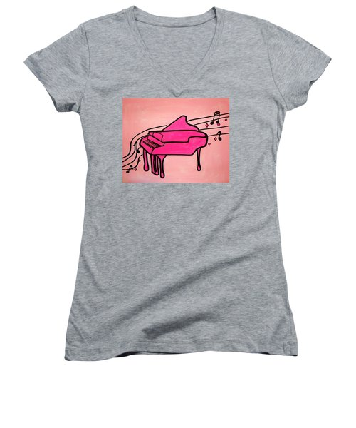 Pink Piano Women's V-Neck (Athletic Fit)
