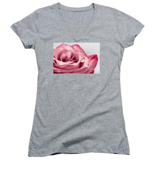 Pink Rose Macro Women's V-Neck T-Shirt