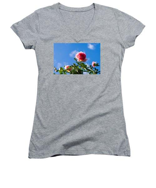 Pink Roses - Featured 3 Women's V-Neck T-Shirt (Junior Cut) by Alexander Senin