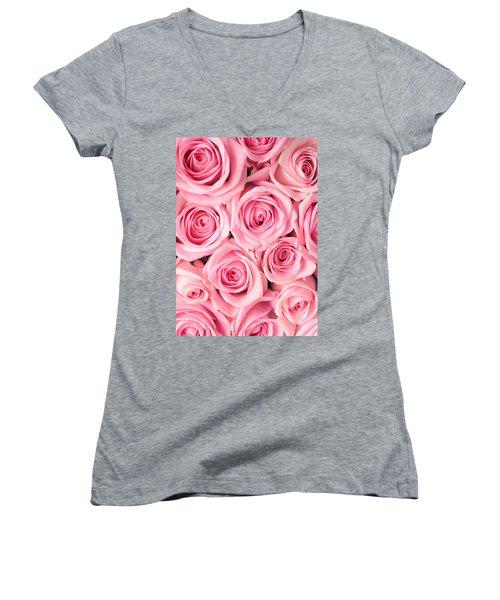 Pink Roses Women's V-Neck T-Shirt (Junior Cut) by Munir Alawi