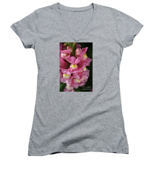 Pink Snapdragon Flowers Women's V-Neck T-Shirt (Junior Cut) by Joy Watson