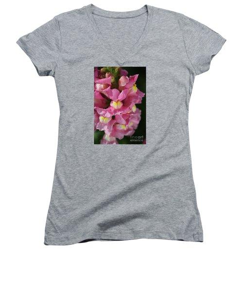 Pink Snapdragon Flowers Women's V-Neck