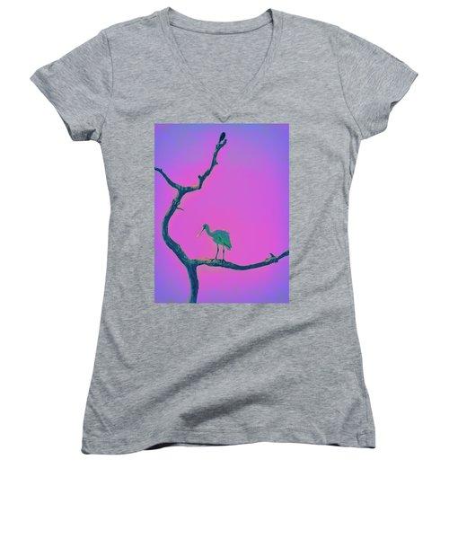 Pink Spoonbill Women's V-Neck T-Shirt