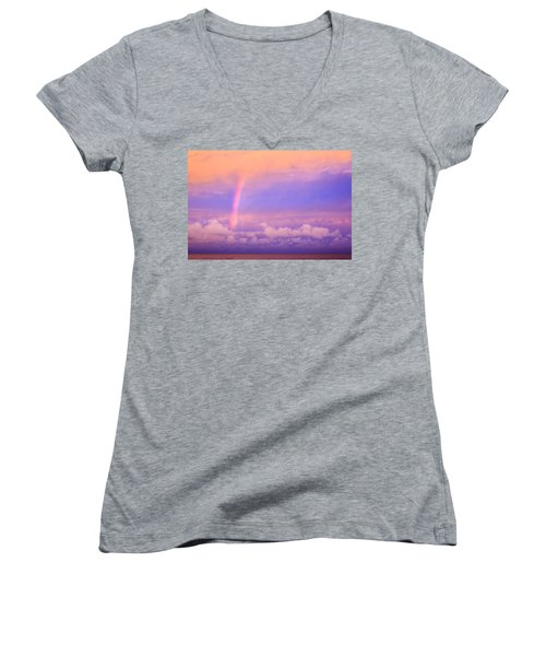 Women's V-Neck T-Shirt (Junior Cut) featuring the photograph Pink Sunset Rainbow by Peta Thames