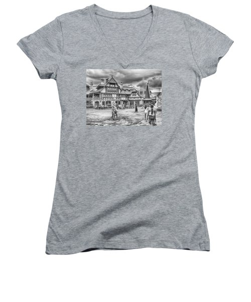 Women's V-Neck featuring the photograph Pinocchio's Village Haus by Howard Salmon