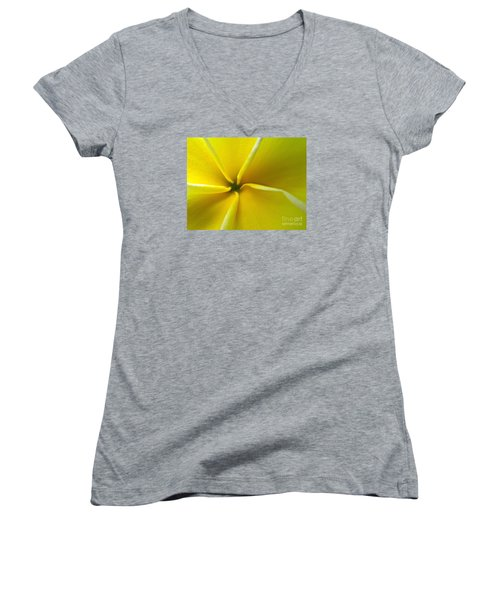 Women's V-Neck T-Shirt (Junior Cut) featuring the photograph Pinwheel Plumeria by Joy Hardee