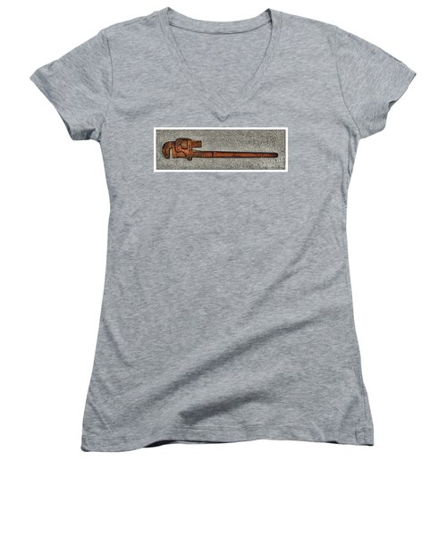 Pipe Wrench Made In U S A Women's V-Neck (Athletic Fit)