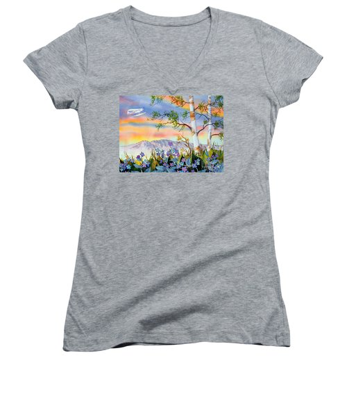 Women's V-Neck T-Shirt (Junior Cut) featuring the painting Piper Cub Over Sleeping Lady by Teresa Ascone