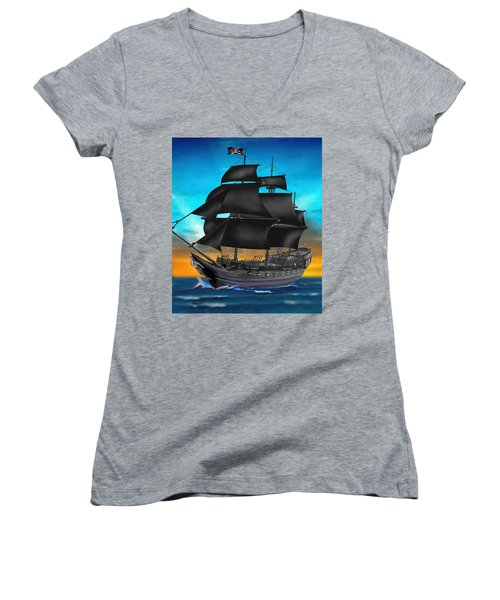 Pirate Ship At Sunset Women's V-Neck (Athletic Fit)