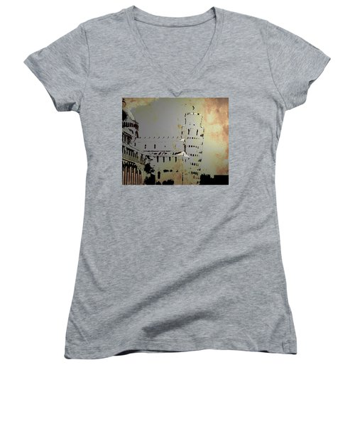 Women's V-Neck T-Shirt (Junior Cut) featuring the digital art Pisa Italy 1 by Brian Reaves